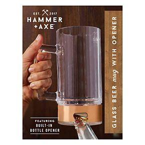 Hammer & Axe Beer Glass with Bottle Opener