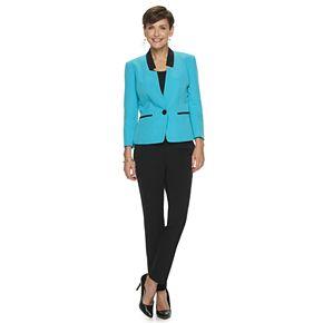 Women's Le Suit Contrast Crepe Jacket & Pant Suit