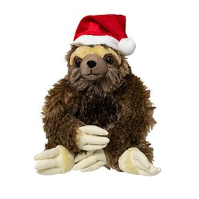 Hammer and Axe 9-inch Sloth Plush Toy with Santa Hat