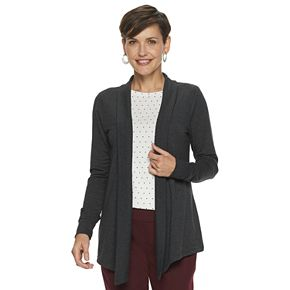 Women's Croft & Barrow Long Sleeve Soft-Snit Open Front Cardigan