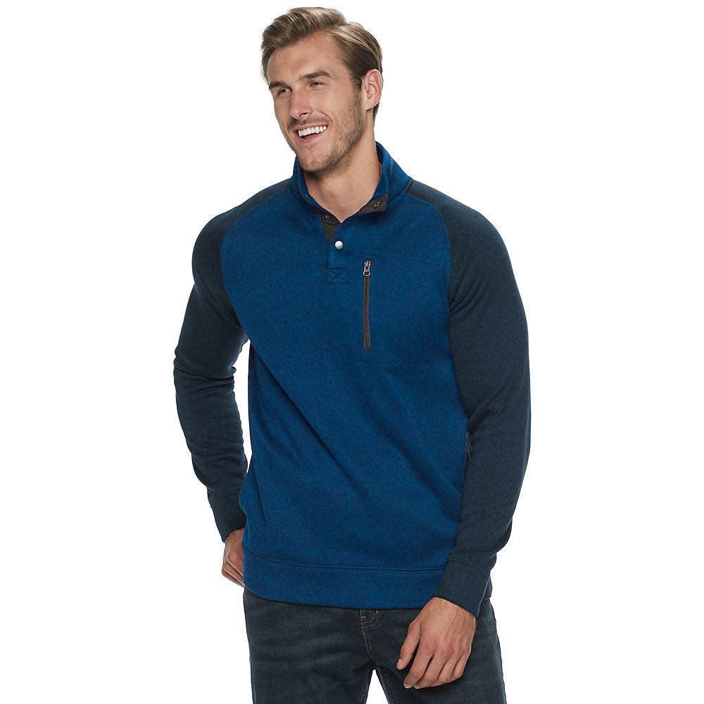 Big & Tall SONOMA Goods for Life® Supersoft Button Mockneck Sweater Fleece
