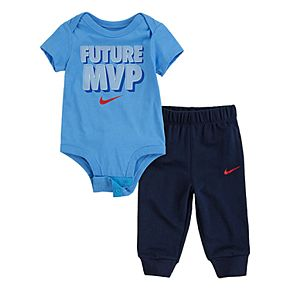 Baby Boy Nike 2-Piece Short Sleeve Bodysuit and French Terry Pants Set