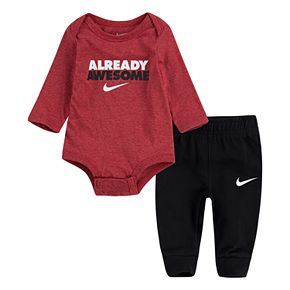 Baby Boy Nike 2-Piece Long Sleeve Bodysuit and French Terry Pants Set