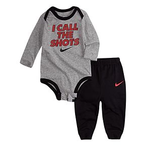 """Baby Boy Nike 2 Piece """"I Call The Shots"""" Bodysuit & French Terry Pants Set"""