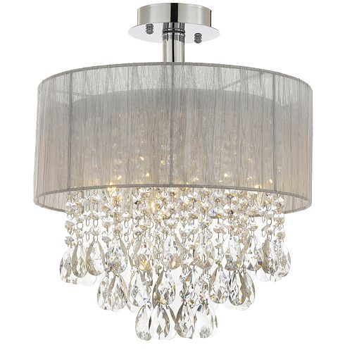 Gallery Silver and Crystal 4-Light Chandelier