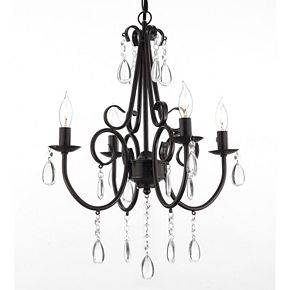 Gallery Iron and Crystal 4-Light Chandelier