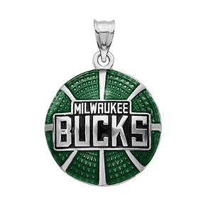 NBA Milwaukee Bucks Sterling Silver Enamel Basketball Pendant