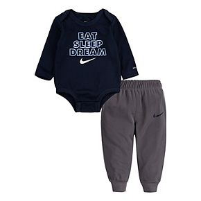 Baby Boy Nike 2 Piece Dri-FIT Long Sleeve Bodysuit and Pants Set