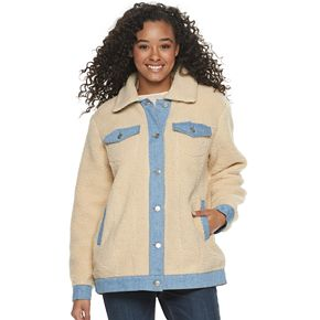 Juniors' madden NYC Denim Trim Sherpa Jacket