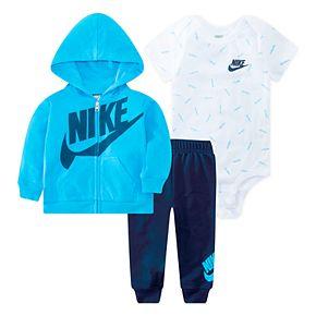 Baby Boys Nike 3 Piece Bodysuit, Zip Hoodie & Pants Set