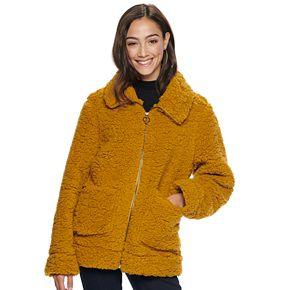 Juniors' madden NYC Juniors' Zip Front Sherpa Jacket