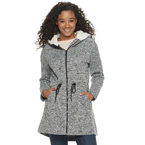 Juniors' madden NYC Juniors' Fleece Sherpa Hooded Jacket