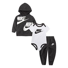 Baby Boy Nike 3 Piece Bodysuit, Zip Hoodie & Pants Set