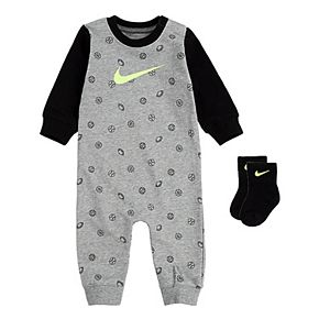 Baby Boy Nike 2 Piece French Terry Coverall and Ankle Socks Set