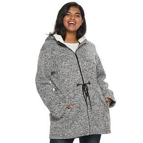 Juniors' Plus Size madden NYC Sweater Fleece Sherpa Hood Jacket