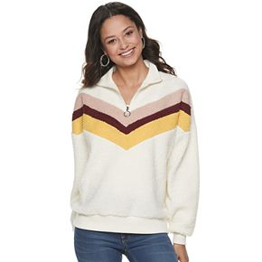 Juniors' SO® Chevron 1/4-Zip Pullover Sweatshirt