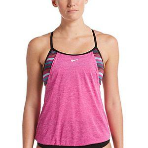 Women's Nike Textured Stripe Layered Tankini Top