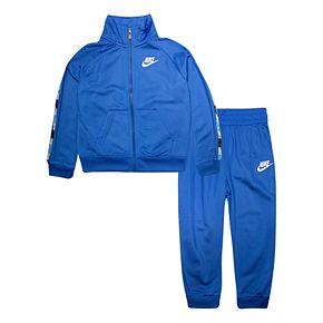 Toddler Boy Nike 2 Piece Logo Taping Zip Jacket and Jogger Pants Track Set