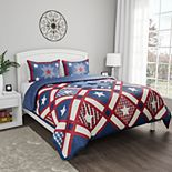 Portsmouth Home Hypoallergenic Microfiber Homestead Patriotic Americana Print 3-Piece Quilt Set