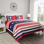 Portsmouth Home Hypoallergenic Microfiber Glory Bound Patriotic Americana Flag Print Quilt Set