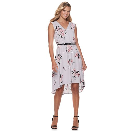 Petite ELLE™ Print High-Low Hem Dress