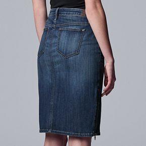 Women's Simply Vera Vera Wang Zipper-Side Denim Skirt