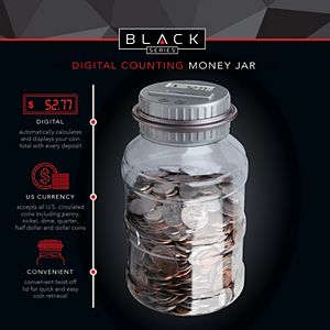 Black Series Coin Counting Jar