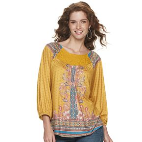Women's World Unity 3/4-Sleeve Shirred Lace Yoke Blouse