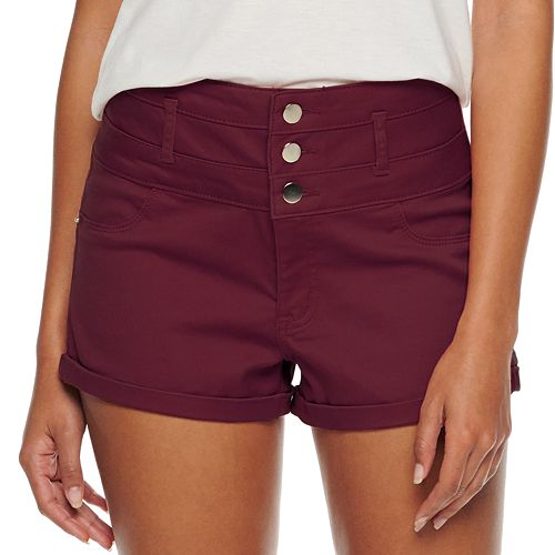 Juniors' Love, Fire High Waisted Triple Stack Shortie Sateen Shorts