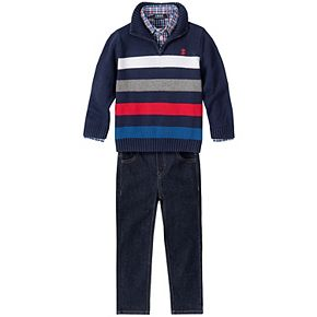 Toddler Boy Izod 3 Piece Striped Sweater, Plaid Shirt & Jeans Set