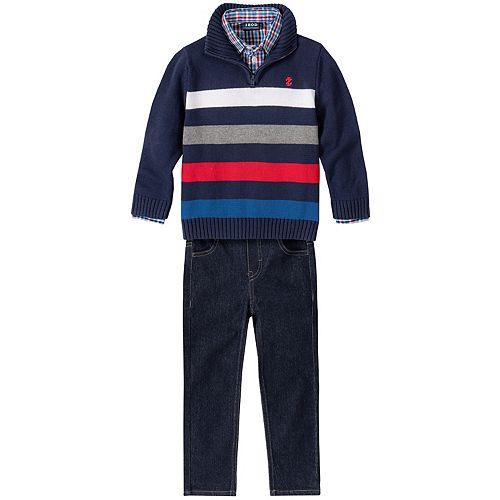 Toddler Boy Izod 3 Piece Striped Sweater, Plaid Shirt & Jeans Set