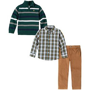 Toddler Boy Izod 3 Piece Striped Sweater, Plaid Shirt & Pants Set