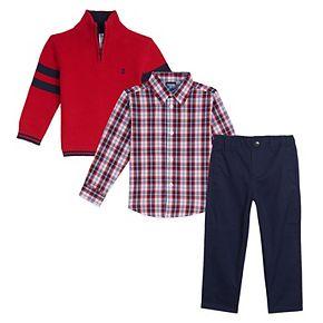 Toddler Boy IZOD 3 Piece Striped Sweater, Plaid Shirt & Pants Set