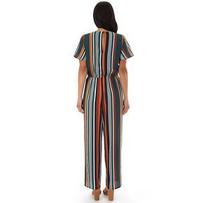 Women's Apt. 9 Short Sleeve Striped Bubble Crepe Cropped Jumpsuit with Twisted Wrap Bodice