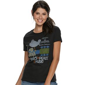 Juniors' Woodstock Guitar & Bird Logo Boyfriend tee