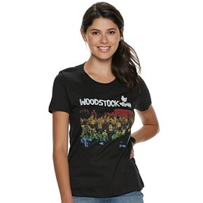 Juniors' Woodstock Rainbow Crowd Boyfriend Tee