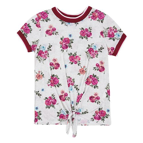 Girls 7-16 Speechless Floral Top Tie Front
