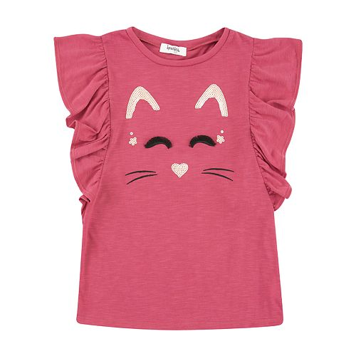 Girls 7-16 Speechless Cat Sparkle Top with Ruffle Sleeve