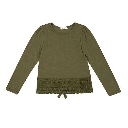 Girls' 7-16 Speechless Tie Front Crochet Top