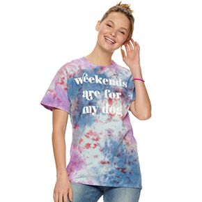 """Juniors' Tie Dye """"Weekends Are For My Dog"""" Tee"""