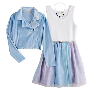 Girls 7-16 & Plus Size Knitworks Rainbow Tulle Dress & Moto Jacket Set