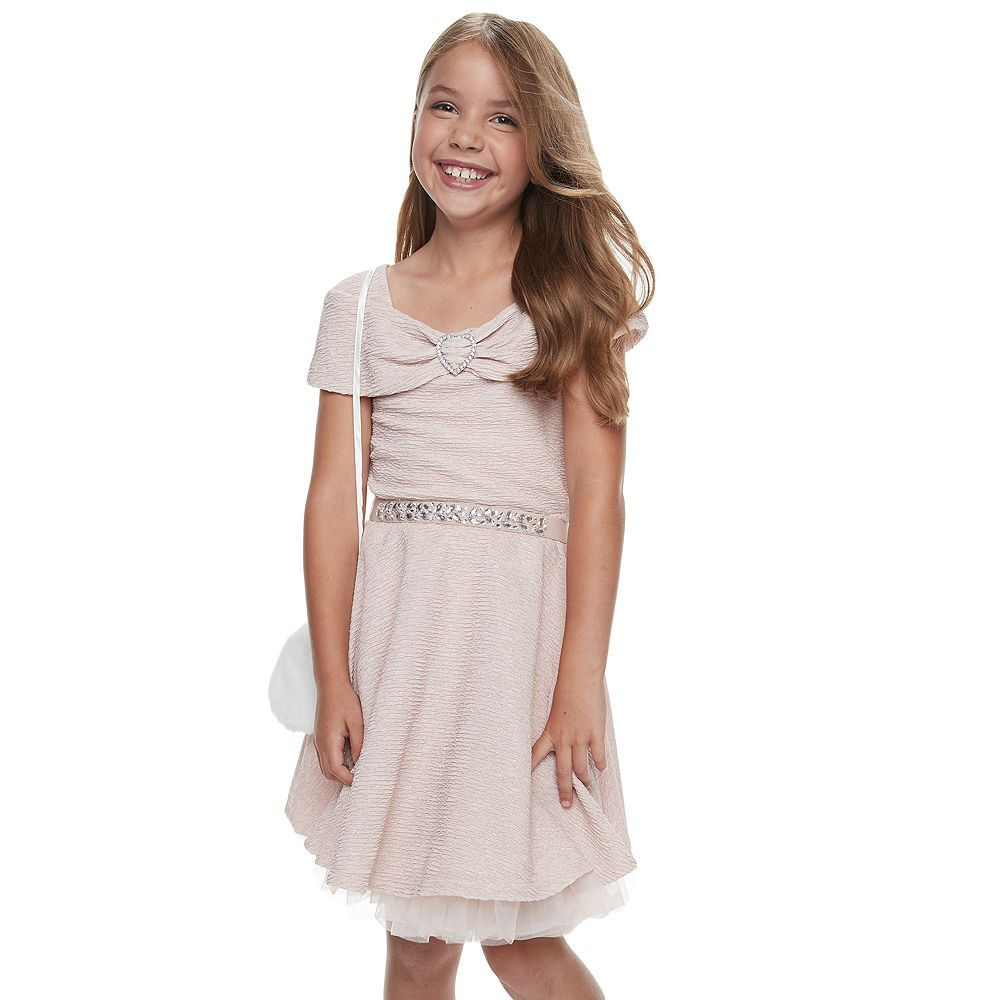 Girls 7-16 & Plus Size Knit Works Pleated Dress & Purse Set