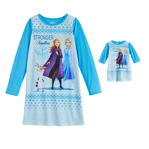 Disney's Frozen Girls 4-16 Nightgown & Doll Gown by Jammies For Your Families