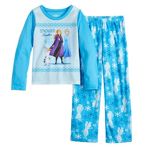 Disney's Frozen Girls 4-12 Top & Bottoms Pajama Set by Jammies For Your Families