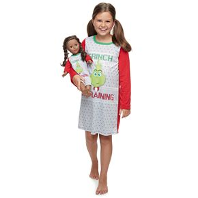 Girls 4-10 Jammies For Your Families The Grinch Nightgown & Matching Doll Gown