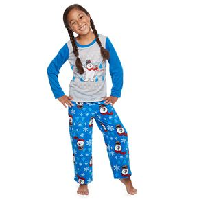 Girls 4-16 Jammies For Your Families Frosty the Snowman Top & Bottoms Pajama Set