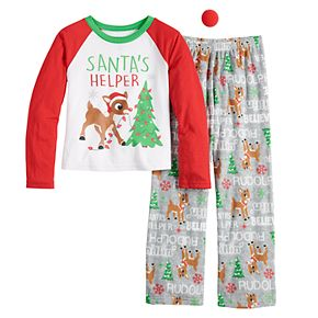 Girls 4-16 Jammies For Your Families Rudolph Top & Bottoms Pajama Set