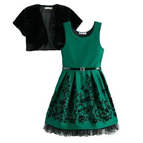 Girl's 7-16 Knitworks Skater Belted Dress Faux-Fur Bolero Jacket 2-Piece Set