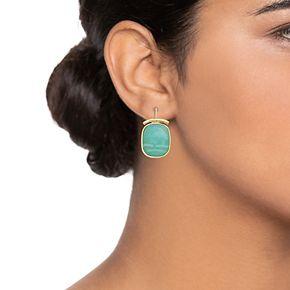 Dana Buchman Green Wire Drop Earrings
