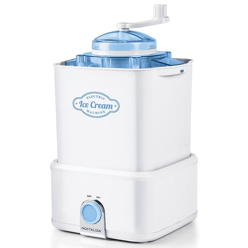 Nostalgia Electrics Candy Crush Ice Cream Maker, White Create delicious, candy-filled frozen desserts with this Nostalgia Electrics Candy Crush ice cream maker. Create delicious, candy-filled frozen desserts with this Nostalgia Electrics Candy Crush ice cream maker. Makes up to 2 quarts of ice cream, frozen yogurt or sorbet at a time Mixing dasher and 2-quart aluminum canister work together to make smooth, creamy ice cream Durable bottom-drive electric motor does all the churning - no manual effort Detachable ice cream bucket keeps ice cream cold when ready to serve Top opening makes it easy to add ice and salt Hand crank candy crusher breaks up your favorite mix-ins and candy pieces to customize ice cream Distinctive turn dial ON/OFF medallion Plastic interior makes cleanup quick and simple Cord stows away neatly for tidy storage PRODUCT CARE Manufacturer's 1-year limited warrantyFor warranty information please click here 12.25 H x 8.75 W x 9 D 36-in. cord length Model no. CICM2WB This product may contain a chemical known to the state of California to cause cancer, birth defects or other reproductive harm. For more information go to www.P65Warnings.ca.gov. Size: One Size. Color: White. Gender: unisex. Age Group: adult.